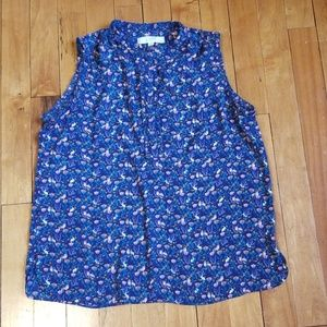 Loft navy floral blouse with rabbits and foxes